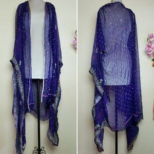 Midnight Star Silk Embellished Lavish Kimono Wrap
